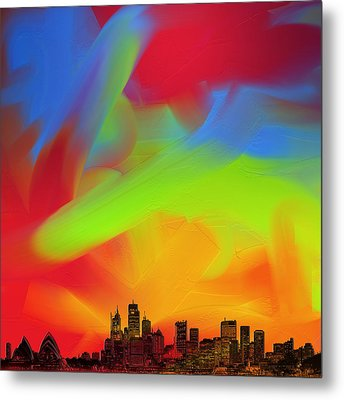 Sydney Skyline In Oils Metal Print by Andy Walsh