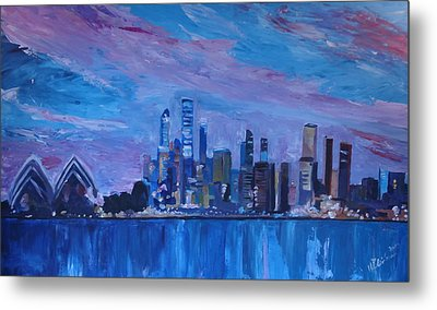 Sydney Skyline With Opera House At Dusk Metal Print by M Bleichner