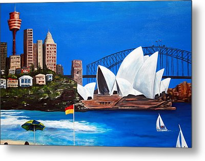 Sydneyscape - Featuring Opera House Metal Print by Lyndsey Hatchwell