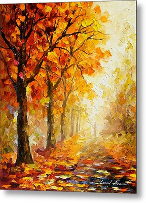 Symbols Of Autumn - Palette Knife Oil Painting On Canvas By Leonid Afremov Metal Print