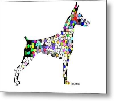 Symetry In Doberman Metal Print by Maria C Martinez