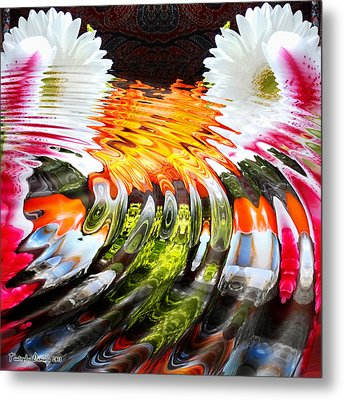 Symmetric Still Life. Flowers In The Water. 2013 80/80 Cm.  Metal Print by Tautvydas Davainis