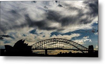 Syndey Bridge And Opera Silhouette Metal Print