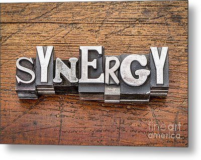 Synergy Word In Metal Type Metal Print by Marek Uliasz