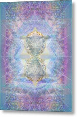 Synthecentered Doublestar Chalice In Blueaurayed Multivortexes On Tapestry Lg Metal Print by Christopher Pringer