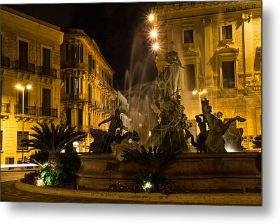 Metal Print featuring the photograph Syracuse - Diana Fountain  by Georgia Mizuleva