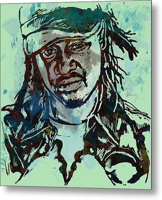 T-pain Faheem Rasheed Najm Stylised Etching Pop Art Poster Metal Print by Kim Wang