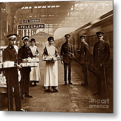 The Red Cross And St. John's Ambulance Brigade During Ww1 England Metal Print by The Keasbury-Gordon Photograph Archive