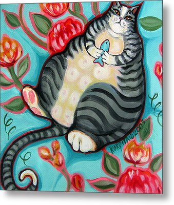 Tabby Cat On A Cushion Metal Print by Rebecca Korpita