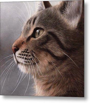 Tabby Cat Painting Metal Print by Rachel Stribbling