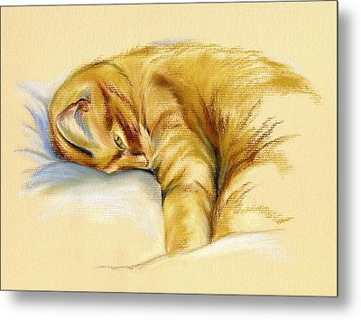 Tabby Cat Relaxed Pose Metal Print