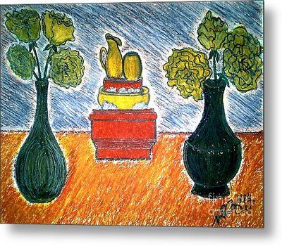 Table And Vases Metal Print by Neil Stuart Coffey
