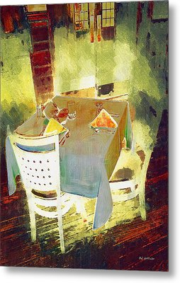 Table At The Fauve Cafe Metal Print by RC deWinter
