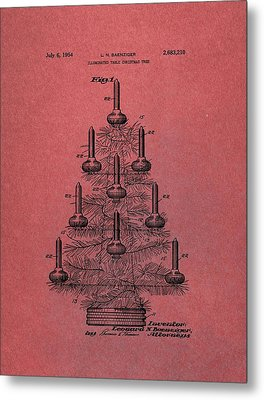 Table Christmas Tree Patent Red Metal Print by Dan Sproul