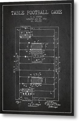 Table Football Game Patent From 1933 - Charcoal Metal Print by Aged Pixel