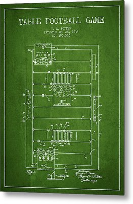 Table Football Game Patent From 1933 - Green Metal Print by Aged Pixel