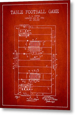 Table Football Game Patent From 1933 - Red Metal Print by Aged Pixel