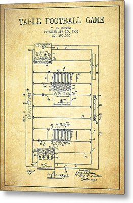 Table Football Game Patent From 1933 - Vintage Metal Print