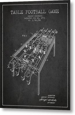 Table Football Game Patent From 1973 - Charcoal Metal Print by Aged Pixel