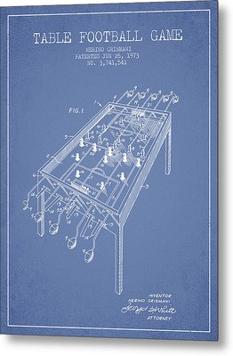 Table Football Game Patent From 1973 - Light Blue Metal Print by Aged Pixel