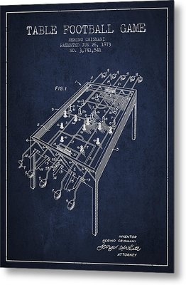 Table Football Game Patent From 1973 - Navy Blue Metal Print by Aged Pixel