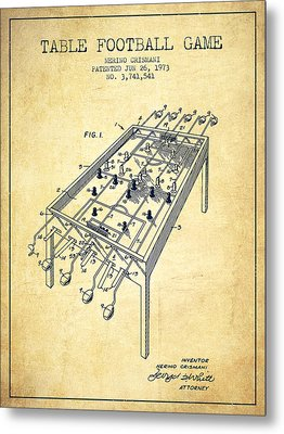 Table Football Game Patent From 1973 - Vintage Metal Print by Aged Pixel