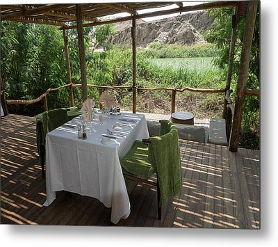 Table For Lunch In Cabin Of Serra Metal Print