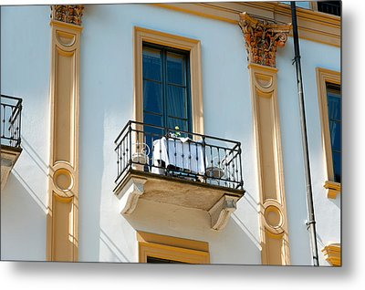 Table For Two On Balcony Of Room Metal Print by Panoramic Images