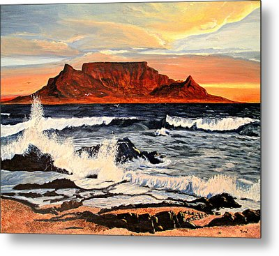 Metal Print featuring the painting Table Mountain At Sunset by Hilda and Jose Garrancho