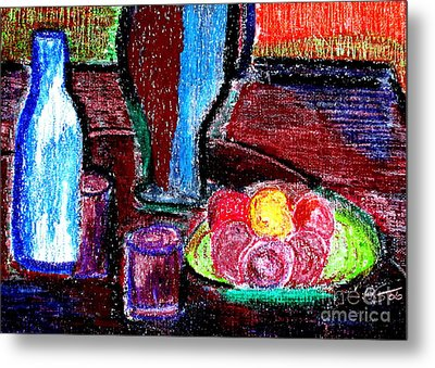 Metal Print featuring the pastel Table On Rue Cadet by Bill OConnor