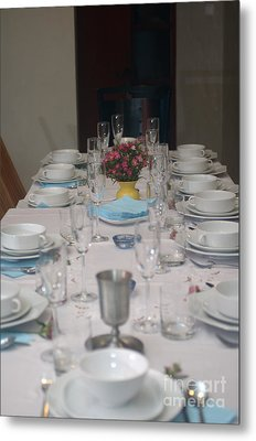 Table Set For A Jewish Festive Meal Metal Print by Ilan Rosen