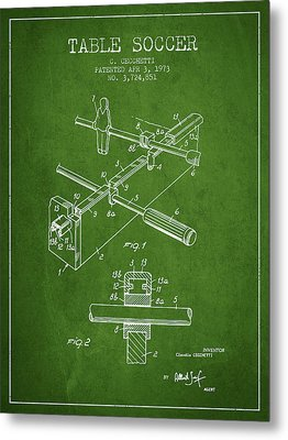 Table Soccer Game Patent From 1973- Green Metal Print by Aged Pixel