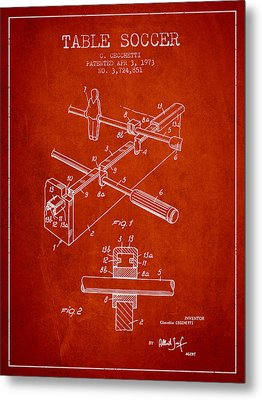 Table Soccer Game Patent From 1973- Red Metal Print by Aged Pixel