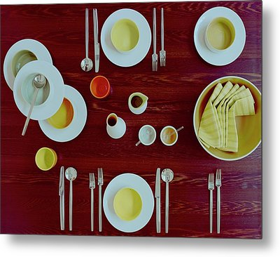Tableware Set On A Wooden Table Metal Print by Romulo Yanes