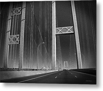 Tacoma Narrows Bridge B W Metal Print by Connie Fox