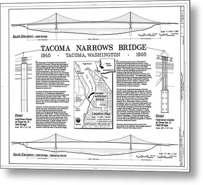 Tacoma Narrows Bridge Habs P1 Metal Print by Photo Researchers