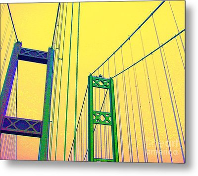 Metal Print featuring the photograph Tacoma Narrows Yellow by Ann Johndro-Collins