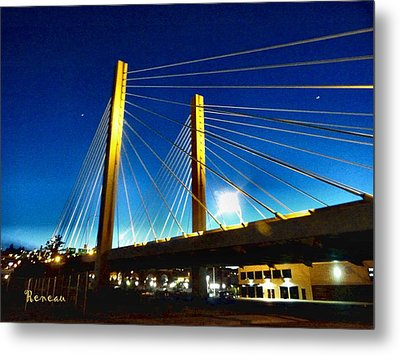 Tacoma W A Cable Stayed Bridge Metal Print by Sadie Reneau