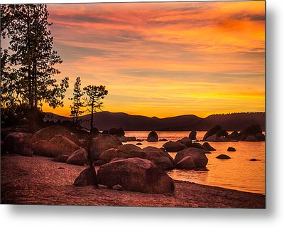 Metal Print featuring the photograph Tahoe Golden Sunset by Steven Bateson