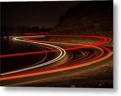 Tail Light Trails Metal Print by Joe Hudspeth