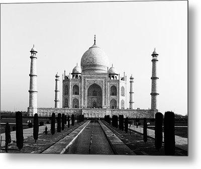 Taj Mahal Bw Metal Print