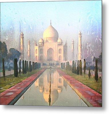 Taj Mahal In The Rain Metal Print
