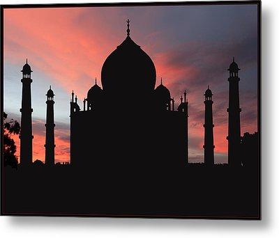 Taj Mahal Silhouette Metal Print by Kim Andelkovic