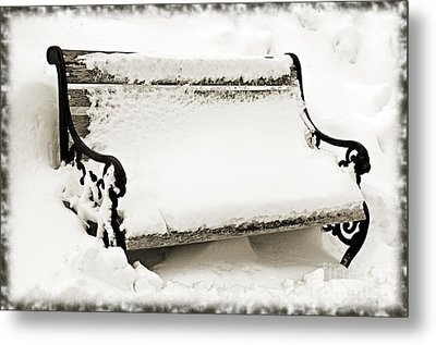 Take A Seat  And Chill Out - Park Bench - Winter - Snow Storm Bw 2 Metal Print by Andee Design