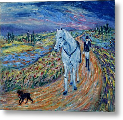 Metal Print featuring the painting Take Me Home My Friend by Xueling Zou