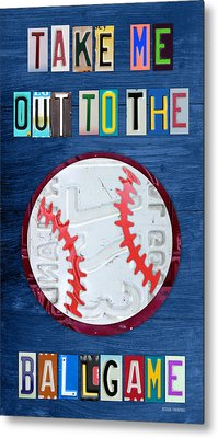 Take Me Out To The Ballgame License Plate Art Lettering Vintage Recycled Sign Metal Print