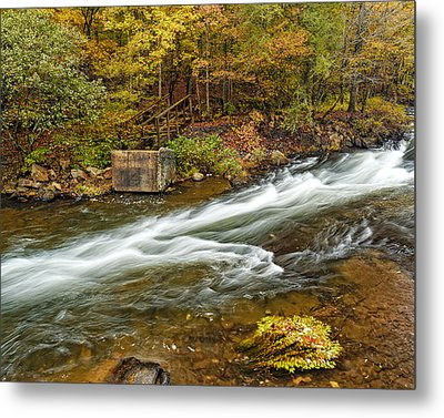 Take Me To The Other Side Beaver's Bend Broken Bow Lake Flowing River Fall Foliage Metal Print by Silvio Ligutti