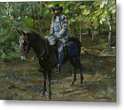 Tennessee Man On Mule Metal Print by Don  Langeneckert