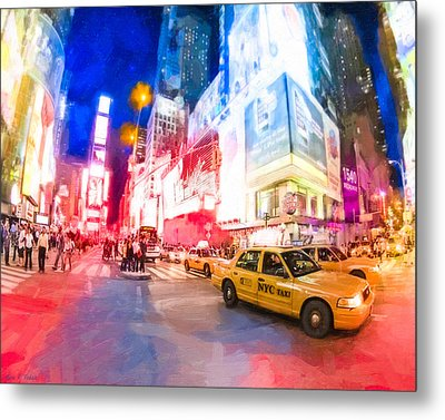 Taking A Taxi Through Times Square Metal Print by Mark E Tisdale