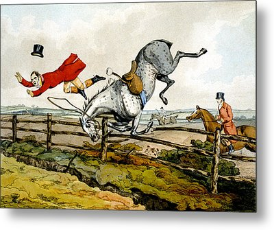 Taking A Tumble From Qualified Horses And Unqualified Riders Metal Print by Henry Thomas Alken
